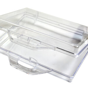 Open transparante koffer